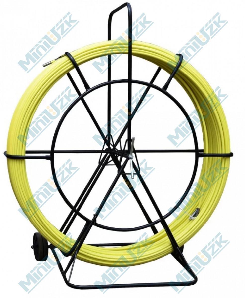 Устройство для протяжки кабеля на тележке пруток желтый (диаметр 11 мм, длина 100 м)